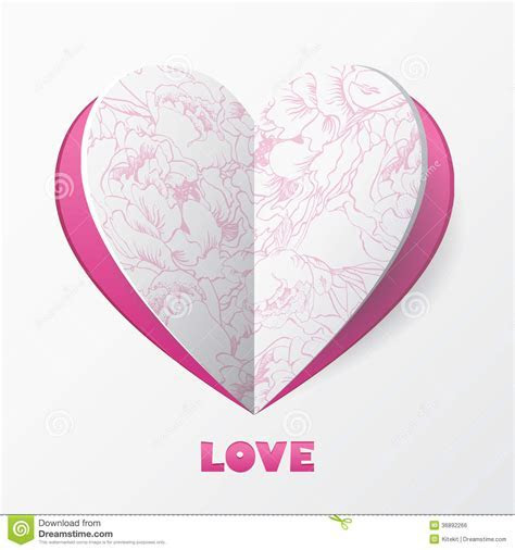 Paper Heart Love Card. Template For Design Greetin Royalty