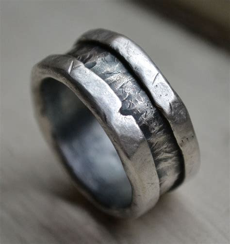 mens wedding band fine  sterling silver ring handmade