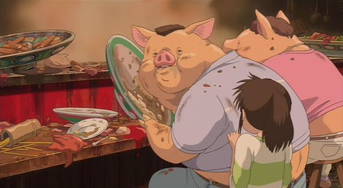 Spirited pigs-eat