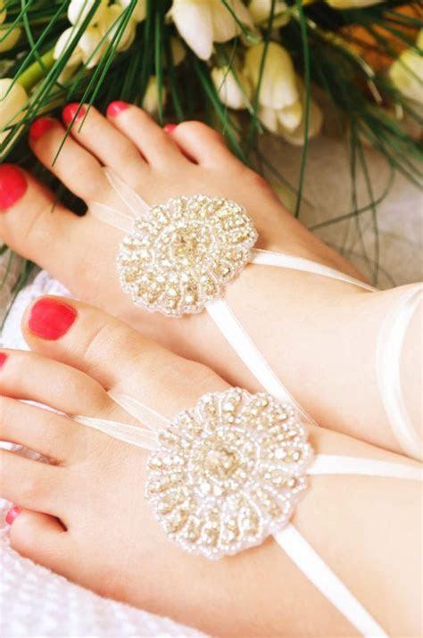 Rhinestone Barefoot Sandals Bridal Shoes Beach Wedding
