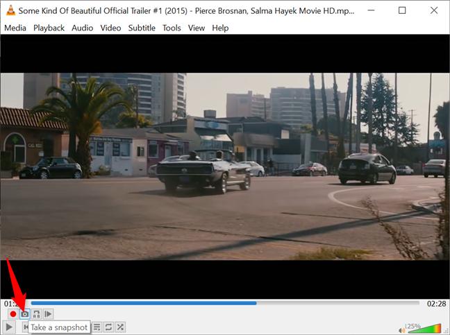 Use el botón Tomar una instantánea para tomar capturas de pantalla de VLC