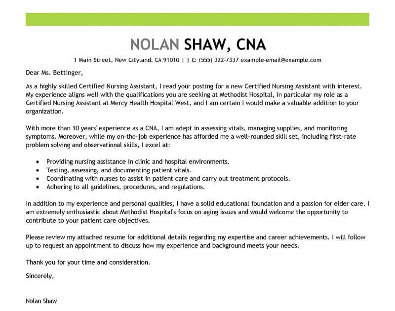 Examples Of Cover Letters For Nursing Assistant Jobs ...