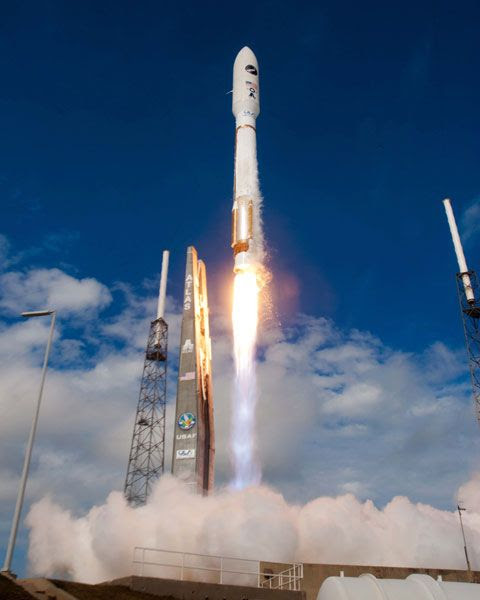 An Atlas V rocket carrying the X-37B Orbital Test Vehicle (OTV-3) is launched from Cape Canaveral Air Force Station in Florida, on December 11, 2012.