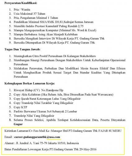 contoh surat lamaran kerja gudang garam tulisanviral info
