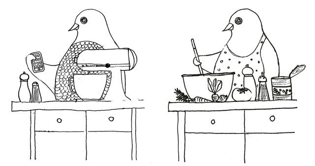 Modern chick sketches
