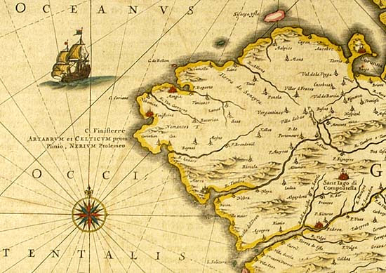 "Joannes Janssonius: Detail from table ""Galicia"" of vol. IV of the Atlas Maior (1658) with the representation of Finisterrae and Santiago de Compostela"