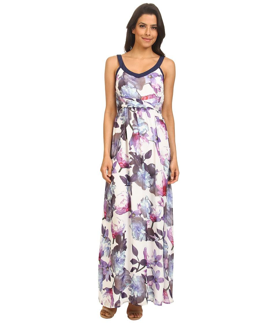 Yumi - Cherry Blossom Print Maxi Dress w\/ Pleated Waist Detailing (Blue) Women's Dress