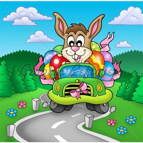 Easter Bunny Driving Car On Road · GL Stock Images