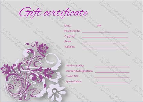Tranquil Gift Certificate Template   Get Certificate Templates