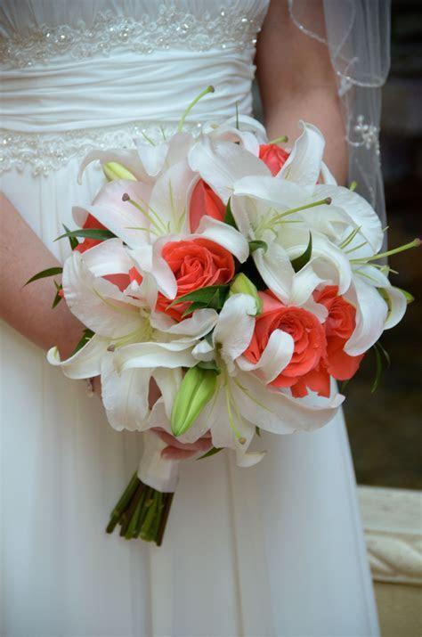 Beach wedding hand tied bridal bouquet of white casablanca