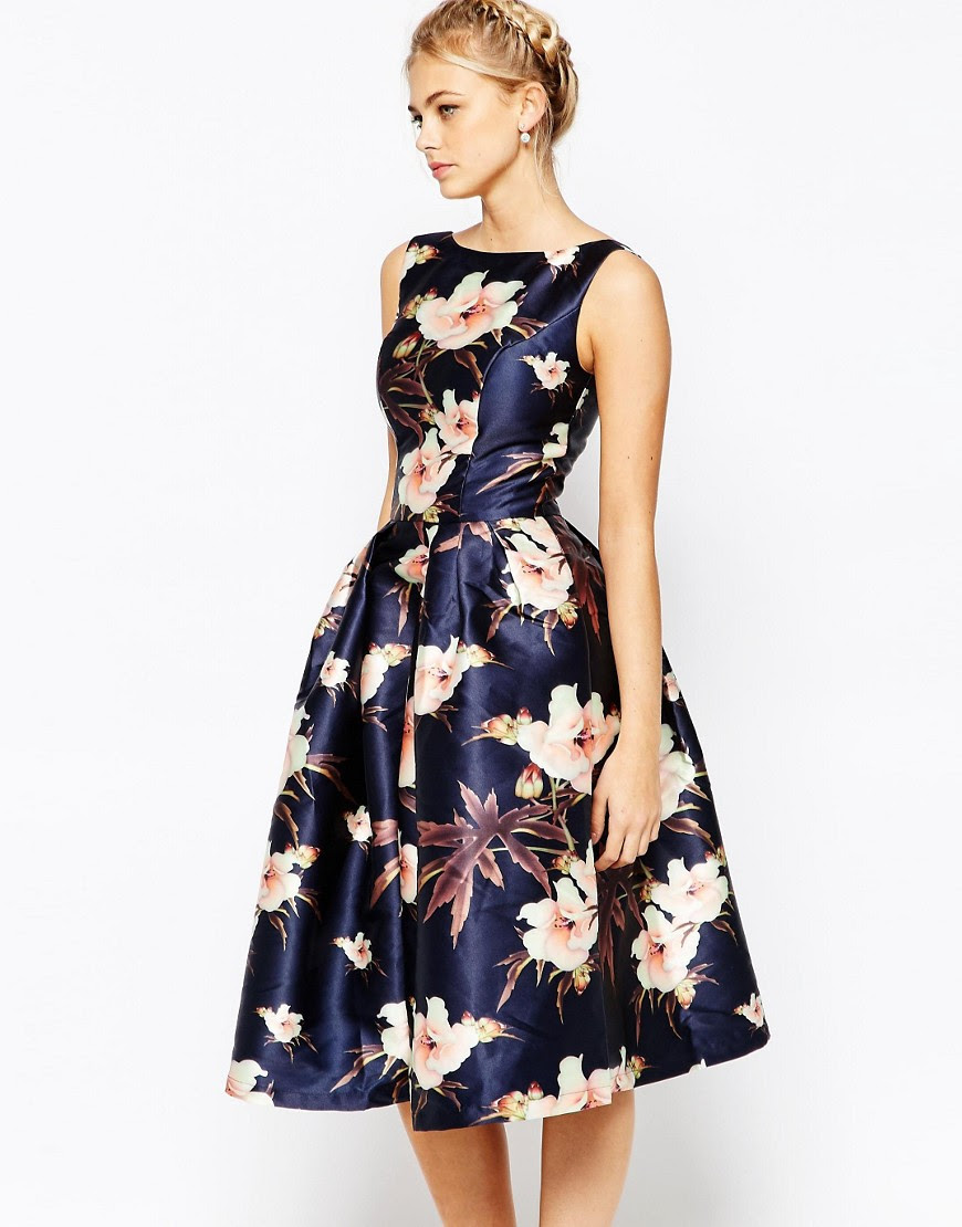Image 1 of Chi Chi London Full Prom Skater Dress In Floral Print