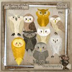 CU Hand Drawn For the love of Owls Clipart