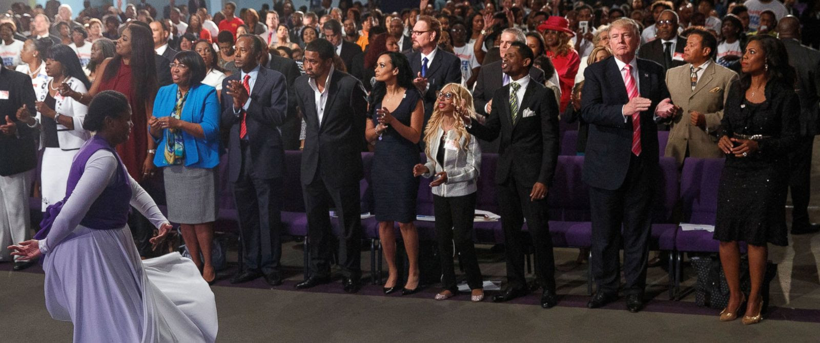 Image result for trump with the blacks in church conversation