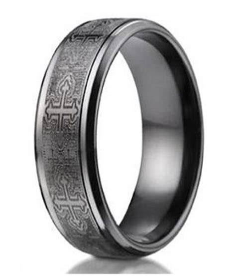 mens black titanium ring crosses comfort fit