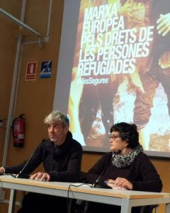 Rueda de prensa sobre la marcha del sábado en Barcelona por los derechos de los refugiados.