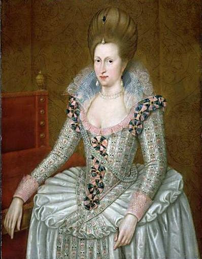Portrait of Anne of Denmark; oil on panel, National Maritime Museum, London  Date circa 1605