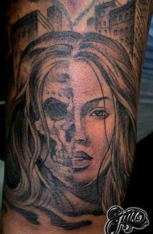 Pictures Of Half Skeleton Face Tattoo Wwwkidskunstinfo