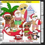 Santa Summer Holiday Clipart - CU