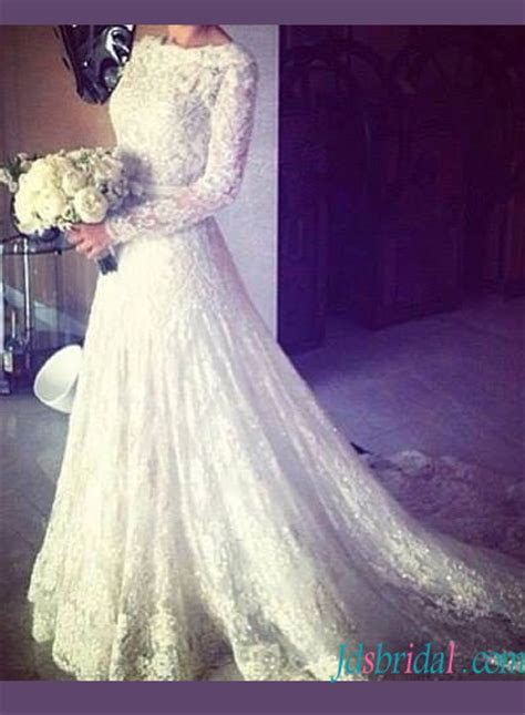 H1409 Modest bateau neck lace long sleeved wedding dress