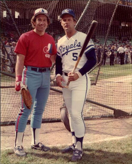 Gary Carter &amp; George Brett, 1983 All Star Game<br />Comiskey Park<br />Chicago, Illinois<br />SPORT magazine photo via Mears