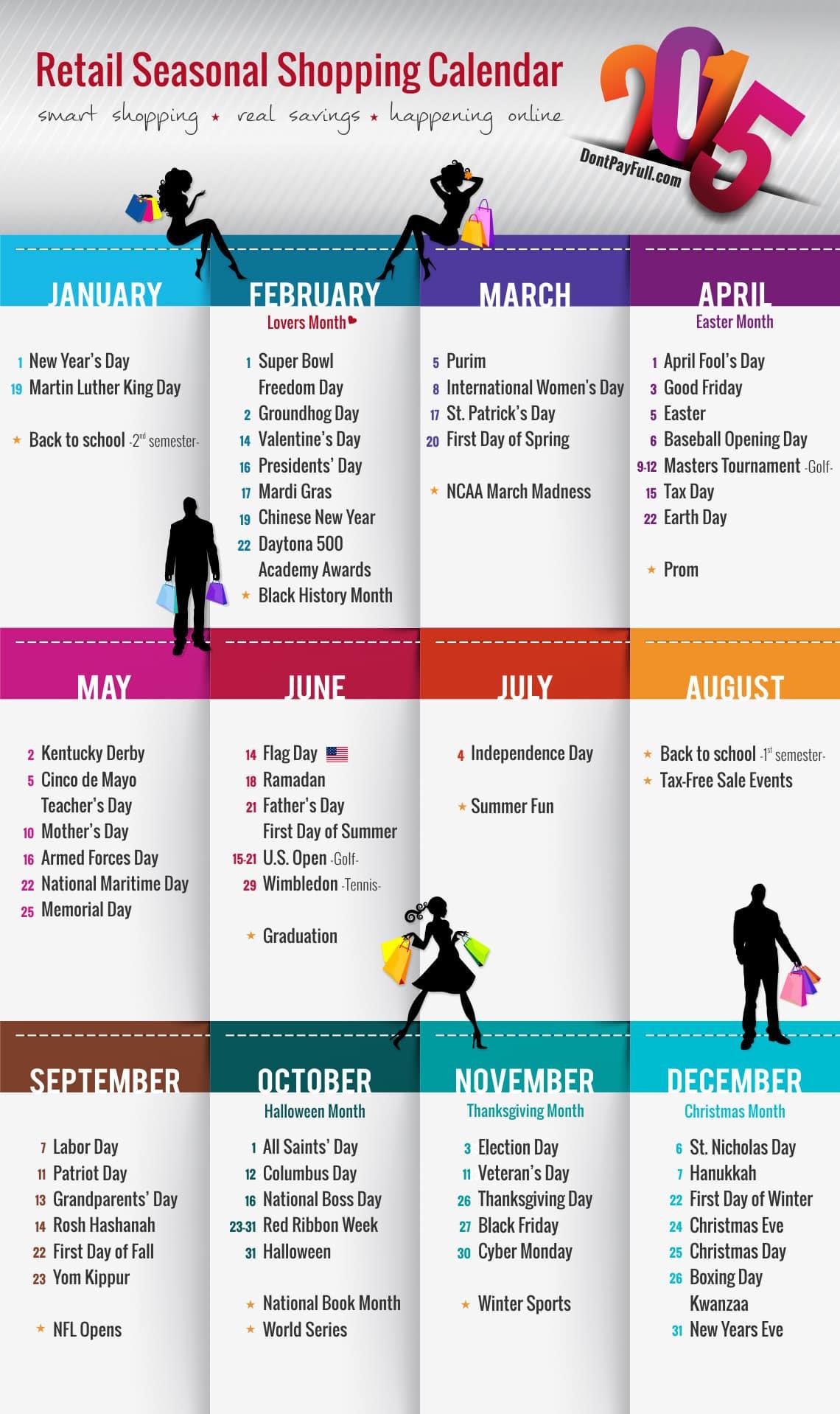 Retail Seasonal Shopping Calendar 2015