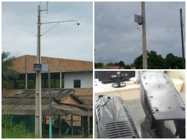 Jovem escalou o poste e destruiu equipamento (Foto: Polícia Civil/Divulgação)