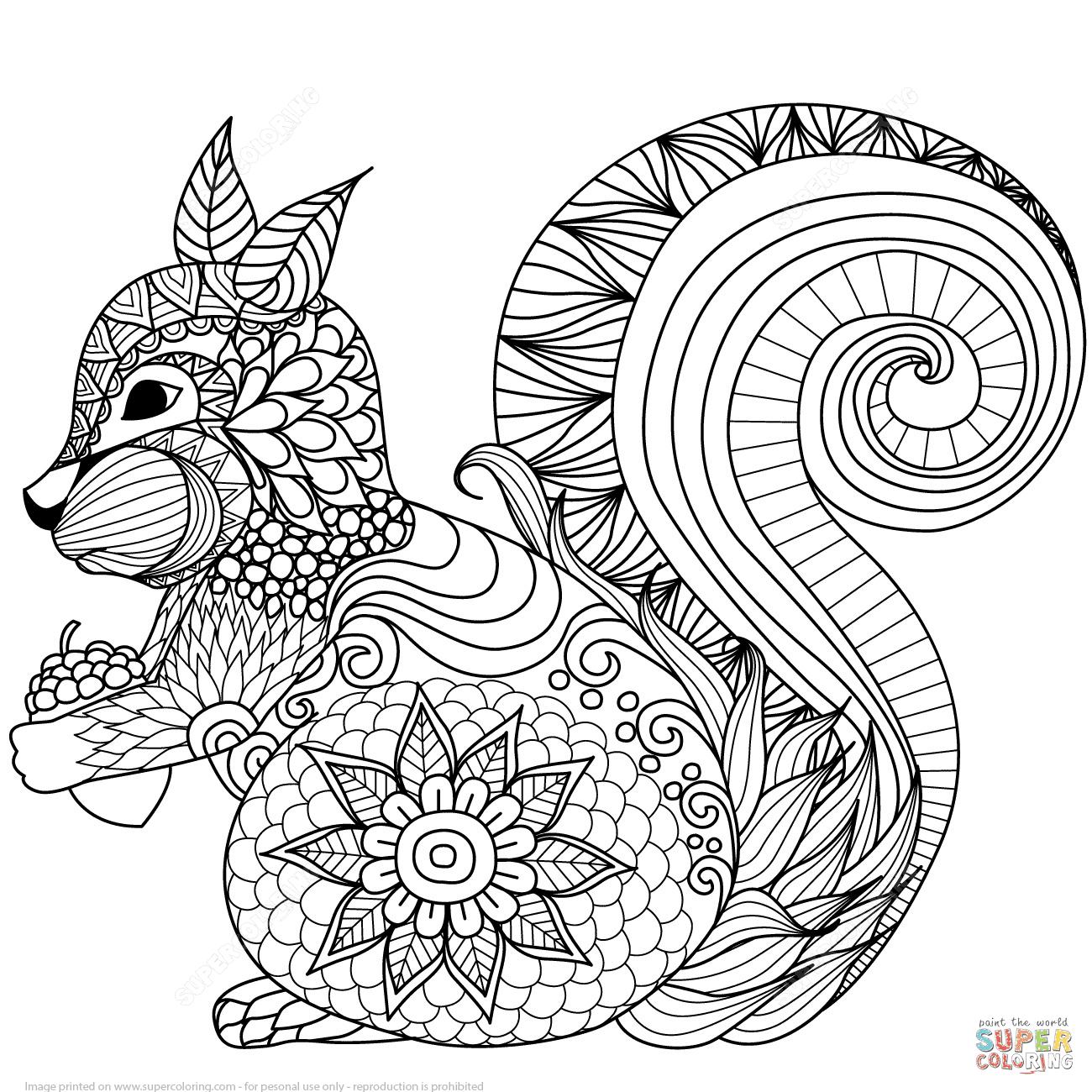 Klick das Bild hübsches Eichhörnchen Zentangle