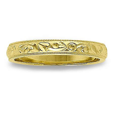 Womens Thin Antique Wedding Band with Milgrain Edges in