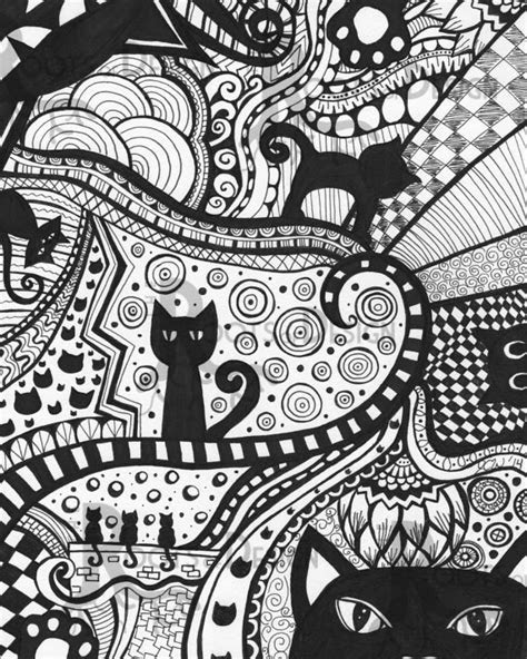 instant  coloring page cat art print zentangle
