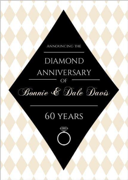 Black and Tan Diamond Anniversary Invitation   60th
