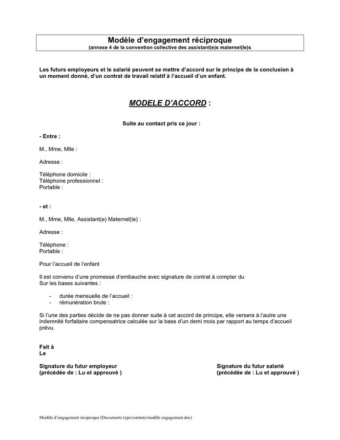 lettre exemples: Modele De Lettre Dengagement Embauche