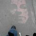 Graffiti on Paris sidewalk