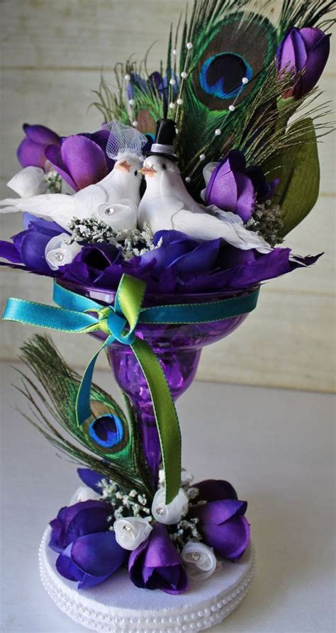 Wedding Cake Topper Peacock Theme Purple by