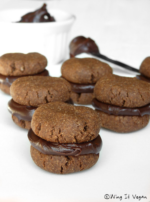 Chocolate Almond Butter Cookies with Chocolate Silk Ganache (Practically Raw)