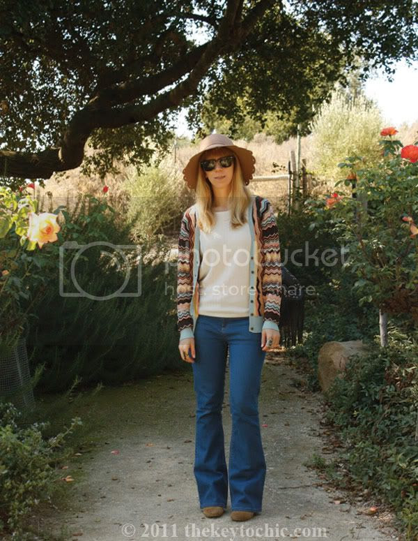 Missoni for Target cardigan, scalloped floppy hat, California street style