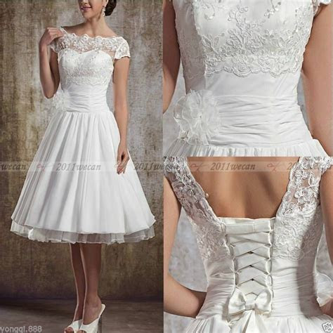 vintage short wedding dress tea length white ivory bridal