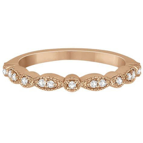 Petite Marquise & Dot Diamond Wedding Band 14k Rose Gold 0