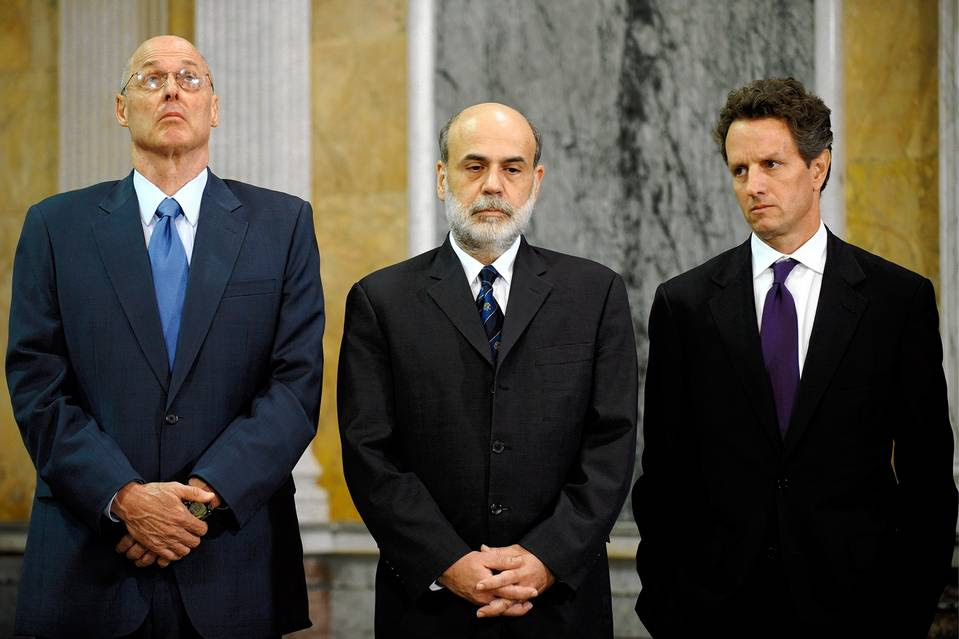 Henry Paulson, Ben Bernanke and Timothy Geithner in October 2008.