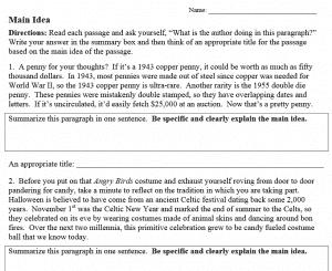 Main Idea Worksheets Nonfiction Grades 5 12 The Teachers Cafe