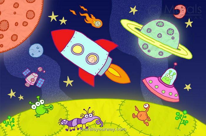 Space Kids Cartoon Drawings