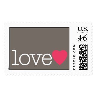 Love with a bright pink heart postage