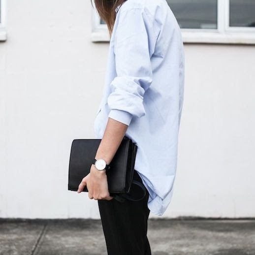 Le Fashion Blog Masculine Inspired Minimal Style Light Blue Button Down Shirt Daniel Wellington Watch Alexander Wang Prisma Double Envelope Clutch Bag Via Modern Legacy photo Le-Fashion-Blog-Masculine-Inspired-Minimal-Style-Button-Down-Shirt-Clutch-Bag-Via-Modern-Legacy.jpg