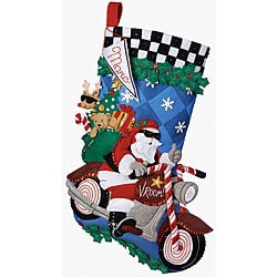'Cruising Santa' Stocking Felt Applique Kit