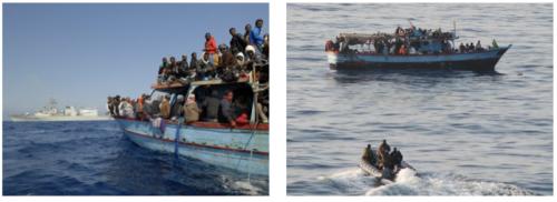 Photos de la marine canadienne et de l'Otan présentant des sauvetages en mars 2011.