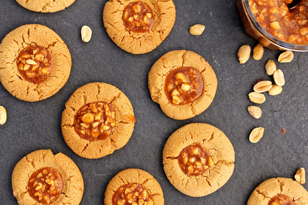 Peanut Butter Cookies with Salted Peanut Caramel from Karen's Kitchen Stories