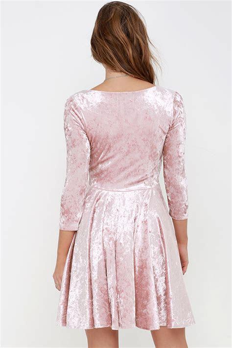 cute blush pink dress velvet dress skater dress