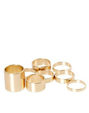 Image 2 of ASOS Pack of 8 Smooth Rings