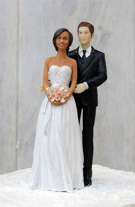 Chic Interracial Wedding Cake Topper   African American