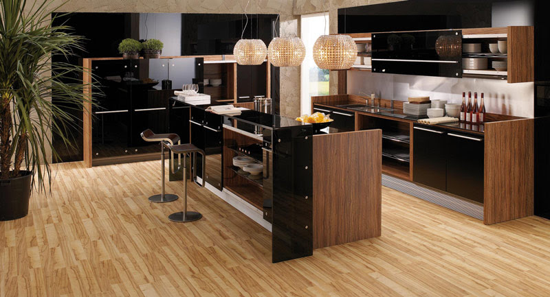 Glossy Lacquer with Natural Wood Kitchen Design – Vitrea from ...