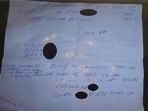 Anatoções mostram planejamento do crime (Foto: Raquel Freitas/G1)